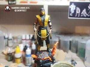 Mortal Kombat Scorpion Figure Painted. Fluo Base 100mm