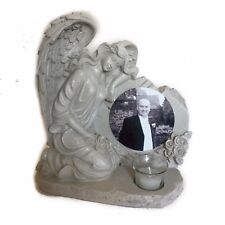 Personalised Photo Stone Effect Grave Tribute Ornament, Angel Wings, Any Picture