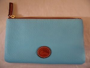 Dooney And Bourke Pebble Leather Zip Pouch Cosmetic Blue Bag