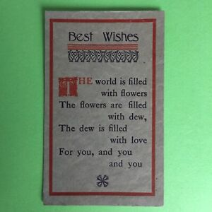Best Wishes The World Is Filled With Flowers Unposted Postcard