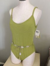 2 Bamboo Swimming Bathing Suit One Piece Olive Green New 14 Beads Waistline