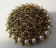 Vintage Signet Blythe & Blythe Seed Pearls Rhinestone Gold Tone Pin Brooch