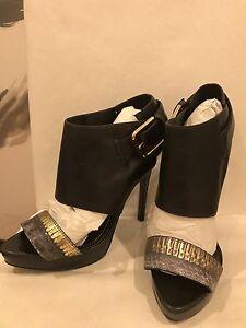 Report Signature Women Black LeatherHigh Heel Pumps Sandal Party Shoes size9