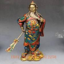 9.2 Inch Brass Cloisonne handwork carved statue - Guan Gong w qianlong Mark