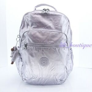 NWT Kipling BP4360 Seoul Backpack Laptop Travel Bag Nylon Frosted Lilac Metallic