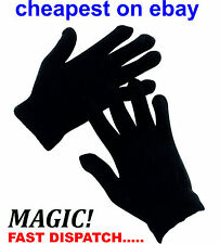 12 Pairs Black Magic Gloves Unisex Men Ladies one size Winter Wholesale Job lot