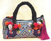 Hmong Shoulder Bags Handmade Tribe Pom Pom Bag Embroidered Vintage Unique Hippie
