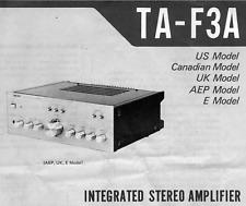 SONY TA-F3A, TA-F4A, TA-F7, TA-F7B Schematic Diagram Service Manual Schaltplan