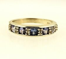 Sterling Silver Iolite & Diamond Eternity Ring (Size O) 5mm Widest