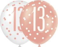 "6 x 12"" Rose Gold 13 Latex Balloons Girls 13th Birthday Party Decoration Helium"