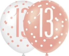 """6 x 12"""" Rose Gold 13 Latex Balloons Girls 13th Birthday Party Decoration Helium"""