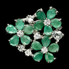 NATURAL 3 X 4 mm. GREEN EMERALD & WHITE CZ 925 STERLING SILVER RING SZ 7.25