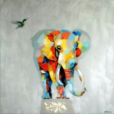 Pop Art Elefant with Kolibri - Martin Klein - Elefant - Acrylgemälde