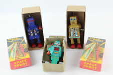 3 x Vintage / Retro Tin Plate Wind Up Toy ROBOTS In Original Boxes