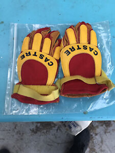 CASTRE Yellow & Red leather GLOVES  mens SMALL cycle M-X Yamaha MOTOCROSS