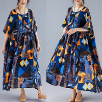 ZANZEA Women Long Sleeve Shirt Dress Floral Print Loose Oversize Midi Dress Plus