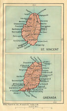 ST VINCENT & GRENADA. Vintage maps. West Indies Caribbean 1935 old vintage