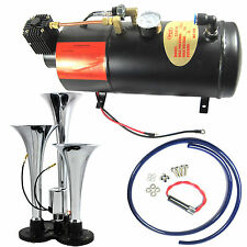 Brand New 3 Triple Compact Train Air Horn With 150 PSI 3 Liter Air Compressor