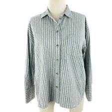 Madewell Women Shirt Sz Small Gray White Stripe Flannel Button Down Long Sleeve