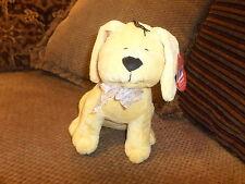 "NWT 10"" Fiesta Plush YELLOW DOG w/ Polk a dot Sheer Ribbon #L22982"
