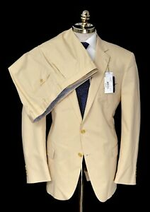 $795 NWT HART SCHAFFNER MARX New York Solid Lt. Tan Cotton Suit 48 R (EU 58)