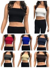 Seamless Spandex Crop  Tube Top Strapless  Tank  Top ONE SIZE (REG OR PLUS)
