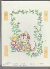 "Hello Best Friend Cartoon Dog w/ Bee & Ladybug 7x9"" Greeting Card Art #M1474"