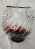 "Hand Blown Glass Vase 2 Handles W Gold Flecks Amethyst  Swirled Ribs 7"" T x 6"" D"
