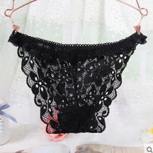 Lady's Sexy V-string Briefs Panties Thongs G-string Lingerie Underwear Black Col