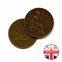 A pair of 1933 British Bronze GEORGE V HALFPENNY Coins