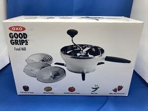OXO Good Grips Food Mill Stainless Steel 2.3qt Hot Cold Grinder w/ 3 Discs New