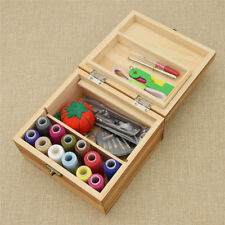 1pc Vintage Wood Box Sewing Kit Tools Needles Scissors Threads Stitching Case