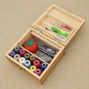 1pc Vintage Wood Box Sewing Kit Tools Needles Scissors Threads Stitching Case