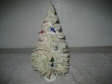 Vintage Bottle Brush white glitter lighted Christmas tree