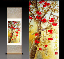 Chinese Silk Scroll Painting Good Luck Tree Home Office Decoration(平安是福)