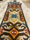 Norwegian Klokkestreng  wool tapestry folk art, Brown/orange/gold/teal/olive