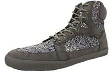 Amiana Girl's High Top Suede Sneaker, Grey Pewter Glitter, 29 Eu / 11.5 Us