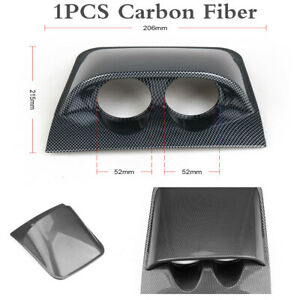 Universal 2In Car Dual Hole Dashboard Gauge Pod Mount Holder Carbon Fiber Look