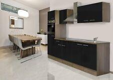 Küchenzeile Küche Küchenblock Einbauküche 270 cm Eiche York schwarz respekta