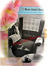 Vintage 50s Tatting Pattern SUPERB Chair Back & Arm Rests Using Motifs