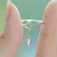 White Elegant Sapphire 925 Silver Ring Women Wedding Engagement Jewelry Sz6-10 T