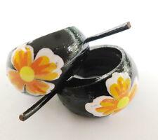 Handmade Unisex Coconut Wood Hoop Orange Flower Earrings Hippy Surfer Ladies