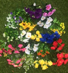 Artificial Silk Flowers 20 BUNCHES Wholesale Job Lot To Clear Mixed Colours