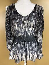 EXPRESS XS Gray Blouse Dolman Sleeve Kimono Style Cold Shoulder Gathered Waist