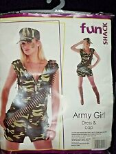 bnwt womens army girl fancy dress costume outfit size L (12-14)