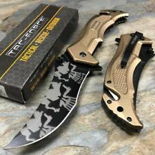Tac-Force Spring Assisted Tactical Rescue Pocket Knife Skull Camo Blade - Tan