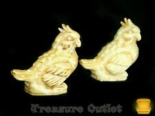 Stone Carved Resin Set Of 2 Cocatiel Cocatoo Bird Figurines Figures Made Mexico