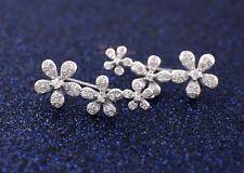 925 Sterling Silver Women Jewelry Gift CZ Flowers Climber Crawler Earrings A1930
