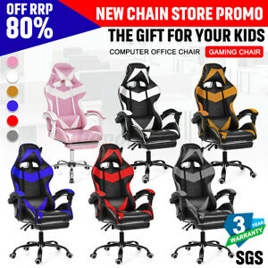 Executive Office Gaming Chair Recliner with Footrest Leather Computer Seat  . .