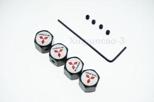 4x For Mitsubishi Car Logo Anti-Theft Tire Valve Caps Covers Wheel Accessories